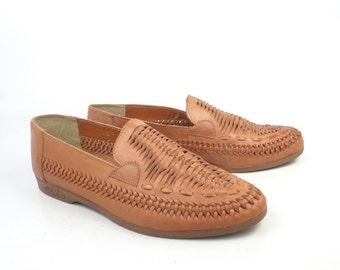 Woven Leather Loafers Vintage 1970s Hipoppotamus Brown Shoes Dress Men's size 8 1/2 D