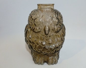 Vintage Libby Brown Glass Wise Old Owl Bank