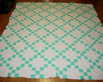 Antique Quilt Top - Hand Pieced Aqua and White