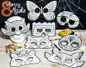 Halloween Printable coloring masks Set of 8: Owl, Butterfly, Frankenstein, Mummy, Werewolf, Witch Cat, Bat, and Sugar Skull Class Activity
