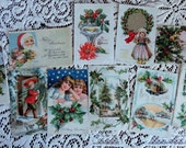 Jolly Holly is the Tie Uniting this Antique Christmas Card Lot No 75 Santa Children Dutch Girl Lot of 10
