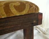 Handmade Golden Velvet Brocade Foot Stool by Barneche/Stephanie Barnes