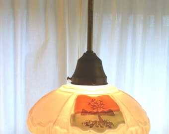Glorious  Antique Metal and Glass Pendant Light with Hand Painted Trees from Barneche/Stephanie Barnes