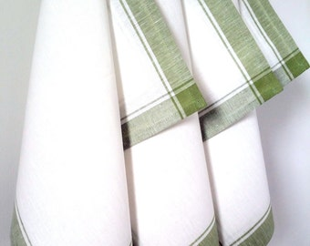 Tea towel, Kitchen towel, Linen towel, White green