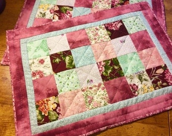 Handquilted patchwork placemats, set of 2