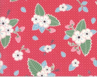 Moda Fabric - Bumble Berries by The Jungs -  Dark Pink with White Strawberry Blossoms - 25090 12 - Sold by the Yard