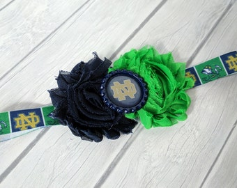 Notre Dame Navy & Green Headband-Baby Headband-Toddler Headband-Elastic Headband