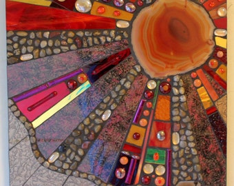 Stained Glass, Fused Glass, Mosaic Art, Agate, Abstract, Contemporary, Red, Gold, Amber