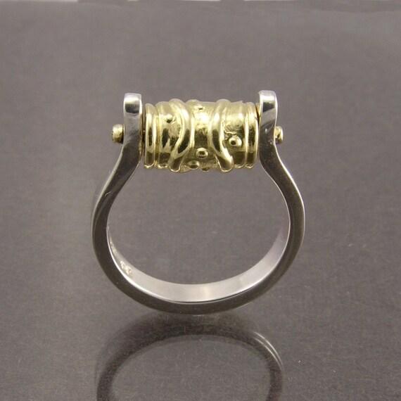 Turning Wheel, Ring, Place Secret Inside Wheel, Handmade, Artisan Designer, Prayer Wheel Ring, 18KY Gold & Sterling, Gift for Her, Free Ship