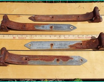 4 large Strap Hinges, rusty steel, 3 1/2 x 16 inch, industrial, heavy duty, unique gate hinge,  upcycle, recycle