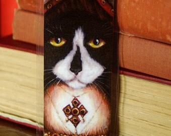 Catherine Aragon Cat Bookmark, Tudor Cats, King Henry VIII Wives Tuxedo Cat