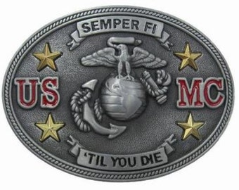 1990s US Marines Semper Fi Till You Die Limited Edition Belt Buckle