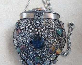 Vintage Stone Purse Metal Gemstone Agate Silver Ornate Scroll Design Crossbody Handbag