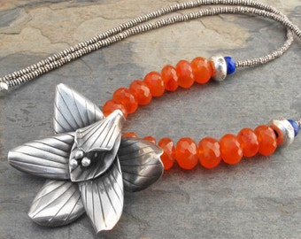 Carnelian Lapis Sterling Silver Necklace - Orchid