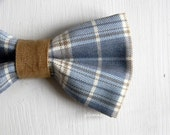 Men bow tie - Plaid bowtie - Italian bowtie -  Pre tied bow tie - Made in Italy - Pale blue, tobacco brown, ivory.