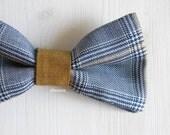 Men bow tie - Lightweight cool wool bowtie - Italian bowtie -  Pre tied bow tie - Made in Italy - Glen Plaid - Pale blue, ochre.