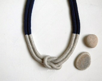 Statement necklace. Multistrand wool necklace. Indigo blue, sand.