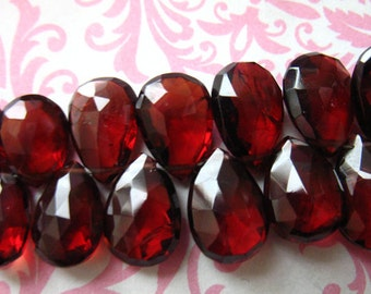 Sale.. 5 10 20 pcs, GARNET Pear Briolettes, Large MOZAMBIQUE Garnet, Luxe AA, 8-10 mm, Burgundy Red, Faceted, January birthstone 89 810 solo