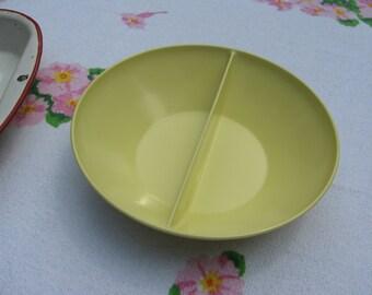 Vintage 9 Inch Divided Yellow DeLux De Lux Melmac Bowl Melamine