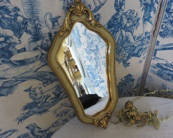 French Vintage Cream & Gilt Mirror / Scrolling Cartouche Decoration / Country French Living Accessory / Paris Apartment Chic Mirror