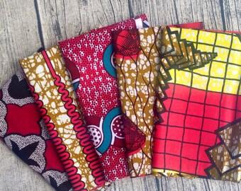 Fat Quarter bundle African wax prints x 5 hot Pinks (#10) fat quarter fabric. African fat quarter