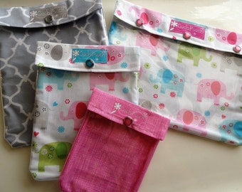 CLEARANCE SALE Ouch Pouch Travel Set - 4 Sizes Clear Pocket Organizers First Aid Medications Diaper Bag Gear Carry On (Pastel Elephants)