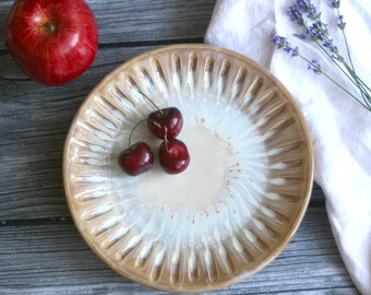 Rustic Ocher and White Side Plate with Carved Rim Handmade Stoneware Pottery Dish Original Dinnerware Made in the USA