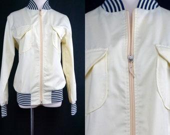 1960s Jantzen Jacket Car Coat Striped Ivory Cream White Spring Autumn Overcoat Small Medium