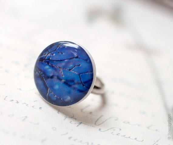 Sky Blue Ring - Tree branches jewelry - Adjustable ring - Winter jewelry (R017)