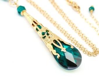 Emerald Necklace, Bridesmaids Bridal Wedding Necklace, Swarovski Pendant, Green Gold Steampunk Filigree Victorian Necklace, Green Crystal