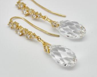 Crystal Bridal Earrings Gold Dangle Drop Earrings Clear Swarovski Crystal Sterling Vermeil Bridal Bridesmaids Wedding Jewelry