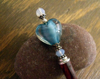 """Romantic Hairstick with Blue Satin Glass Heart and Swarovski Opal Crystals, Valentines Gift for Women """"Blue Blush"""""""