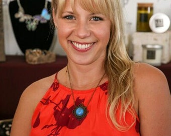 WORN BY:  Actress Jodie Sweetin from Fuller House. Ornate Bohemian Turquoise Necklace.