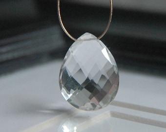 Crystal Quartz Checker Faceted Pear Briolette