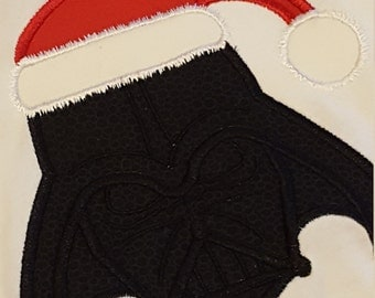 4T Boys Star Wars Darth Vader As Santa Claus Ready to Ship Long Sleeve Applique Shirt