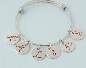 Initial Bangle Bracelet, silver charm bracelet, initial bracelet, personalized, Mothers bangle