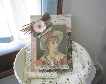 Victorian Card for Mom - Handmade Vintage-style Card Mom - Old-fashioned Mom Card