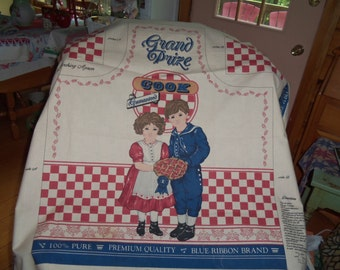 Apron fabric to make  ADVERTISING BLUE RIBBON Boy Girl Prize ex