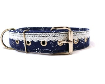 Blue floral dog collar - Lacy dog collar - Metal buckle pet collar - Dyed blue white lace decorated adjustable dog collar with metal buckle
