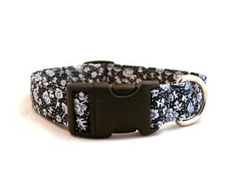 Black and white floral dog collar - Black white blue pet collar - Night dog collar - Moonlight Flowerfield adjustable dog collar