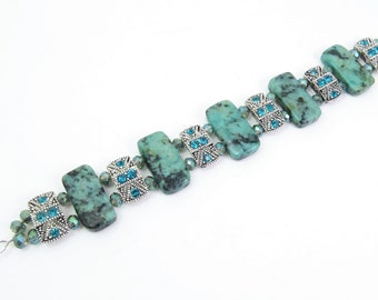 African Turquoise and Swarovski Crystal Bracelet or Medical ID Bracelet