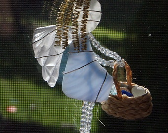 Sea Glass Angel Suncatcher Ornament With Translucent Blue and Patterned White Sea Glass, Holding  aTiny Basket of Sea Glass