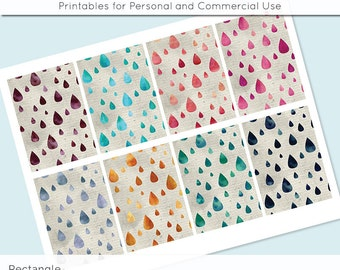 """Digital Collage Sheet Watercolor Raindrops 2.5"""" x 3.5""""  Images ATC ACEO Magnets Card Jewelry Holder Hang Tag Journaling Scrapbooking"""