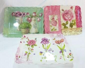 Melamine large serving trays set of 3 floral kitchen ware