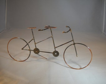 Table Top Wire Tandem Bicycle/Copper Plated Steel Bicycle/Cyclist/Cycling/Hand Sculpted Wire Bicycle/Wire Art Bicycle/ Table Top Decor