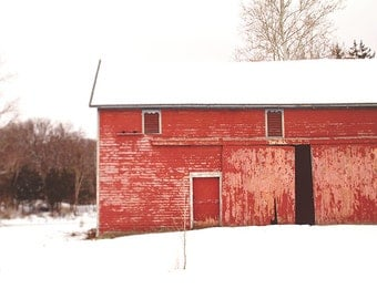Barn Photography, Rustic Photograph, Winter Photograph, Barn Decor, Barn Picture, Red Barn, Red and White, Cottage Chic, Country, Farmhouse