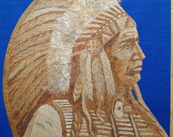 Original art Native American Chief,,Handmade with rice straw, over 3000 tiny pieces of rice straw to create this art.