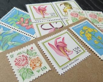 Botanical Garden Arrangement .. Vintage UNused Postage Stamps .. to post 5 letters