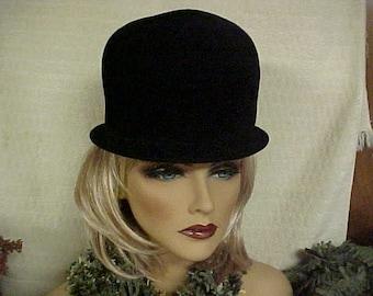 """Black velvet cloche hat -peachbloom velour imported body- fits 21 1/2"""""""