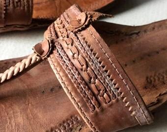 Vintage KAMCO Leather Sandals - Mumbai India Hand Made Leathergoods - sz 7 - Hippie Boho St Barths Chic - Haight Ashbury Laurel Canyon Cool